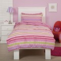Just Kidding Candy Stripe Duvet Cover by Linen House. Girls Pink& Lilac Striped Duvet Cover
