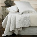 Sheridan Floriane Alabaster Quilted Bedskirt, Coverlet, Cushion and European Pillowcase
